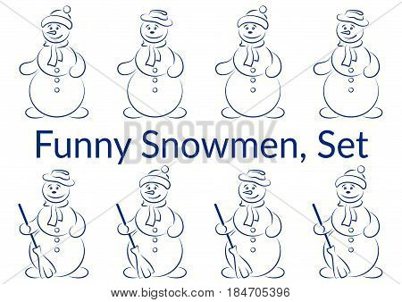 Set of Cartoon Snowmen, Christmas Characters with Brooms, Holiday Symbolical Icons for Your Design, Blue Pictogram Silhouettes Isolated on White Background. Vector