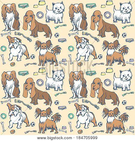 sketch dog breeds Cavalier King Charles spaniel, West Highland Terrier, Bulldog, Basset Hound