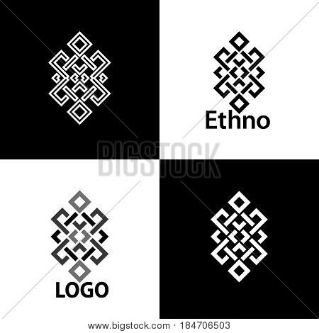 Set collection of the endless knot or eternal knot designs. One sign in different variations for your logo tattoo patterns... Vector illustration.