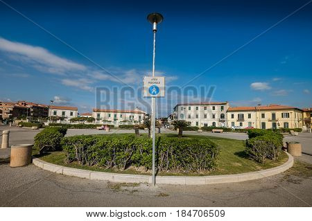Marina Di Pisa, Italy - Avril 24, 2017: Balearic Square, Marina Di Pisa In Tuscany