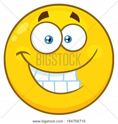 Funny Yellow Cartoon Face Character With Smiling Expression And Protruding Tongue. Illustration Isolated On White Background