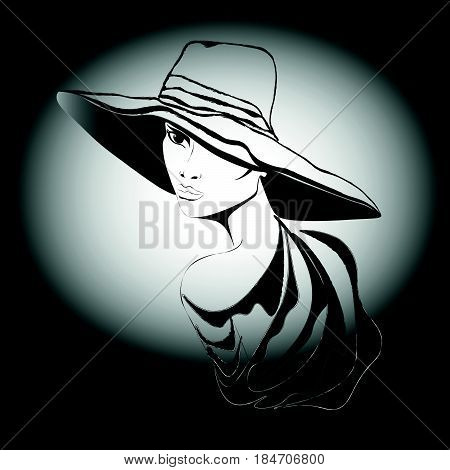 Woman with hat Portrait of a woman wearing a headdress turned in half a turn drawing black white full lips seen one eye slender neck stock vector illustration