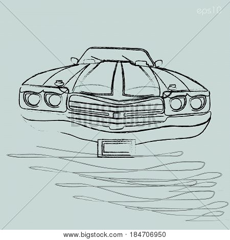 Car charcoal graphics Car front view windshield headlight bumper black and white drawing graphics isolated illustration of vector stock
