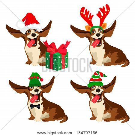 Cute dog of Basset Hound breed in New Year's hats. Vector illustration on white background. Friend of human. Symbol of the year 2018.