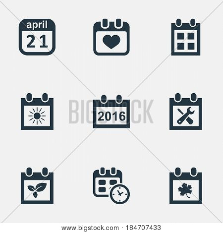 Vector Illustration Set Of Simple Date Icons. Elements Date, Reminder, 2016 Calendar And Other Synonyms Plant, Heart And Leaf.