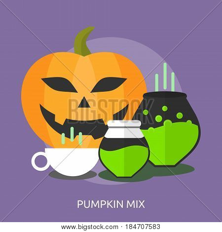 Pumpkin Mix Conceptual Design | Great flat illustration concept icon and use for halloween, holiday, horror, night and much more.