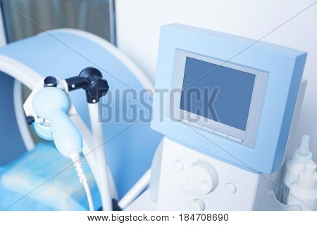 Special medical equipment for ultrasound scan in modern clinic, closeup
