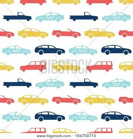 Retro car seamless pattern. Vector illustration for transport design. Bright vehicle, car, automobile, taxi pattern. Car wallpaper background. Cartoon silhouette shape. Transportation auto pattern