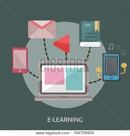 E-Learning Conceptual Design | Great flat illustration concept icon and use for education, science, learning, reading and much more.