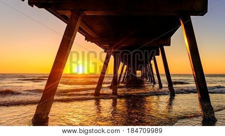 Glenelg beach jetty at sunset Adelaide South Australia