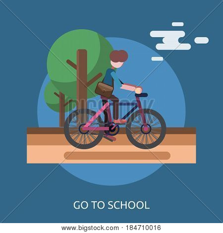 Go to School Conceptual Design | Great flat illustration concept icon and use for education, science, learning, reading and much more.