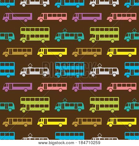 Retro bus seamless pattern. Vector illustration for transport design. Bright vehicle pattern. Bus wallpaper background. Cartoon vintage silhouette. Transportation school bus shape wallpaper