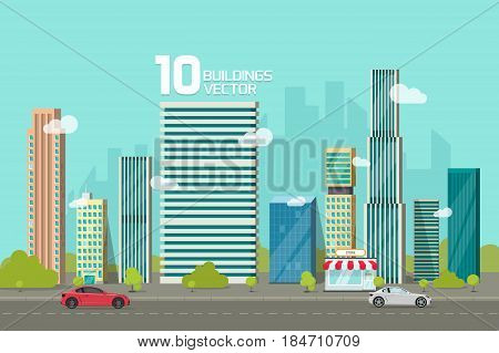 City buildings along street road vector illustration, cityscape flat cartoon style, modern big hight skyscrapers town building, urban landscape