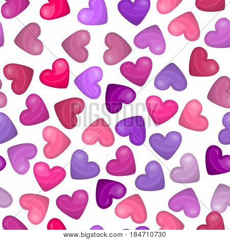 Glossy heart seamless pattern on white background. Vector illustration for sweet holiday design. Cute pink, red, rose heart icons. Bright shiny heart shape wallpaper. Valentine day holiday pattern