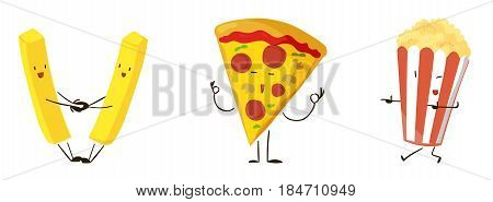 Cute cartoon fast food icons set. Vector illustration for restaurant menu design. Pizza, popcorn, fries, junk food cartoon icon isolated on white background