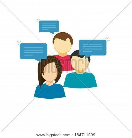 Discussion group vector illustration, flat cartoon style people talking, team dialog communication icon, idea of social community speech, talk symbol isolated on white background