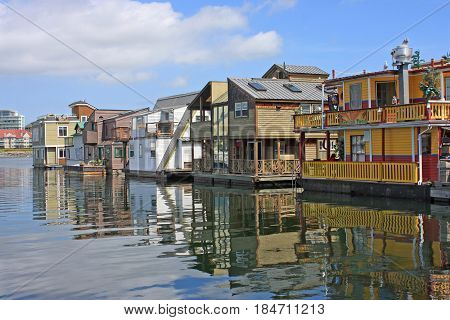 Floating houses in Fisherman's wharf, Victoria harbour