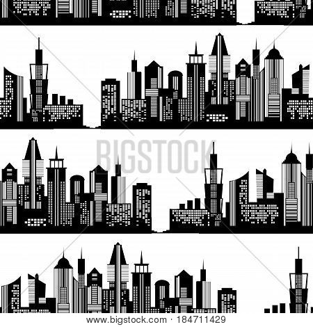 Modern city silhouette seamless pattern. Vector illustration for urban design. Building construction wallpaper. Art town pattern element with skyscraper street panorama. American new york cityscape