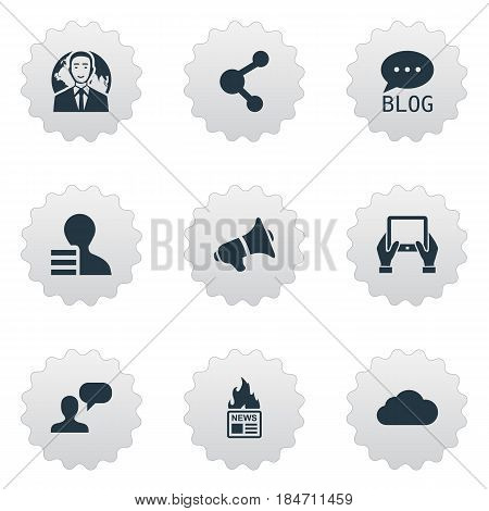 Vector Illustration Set Of Simple Newspaper Icons. Elements Overcast, Gazette, International Businessman And Other Synonyms Gazette, Speaker And International.