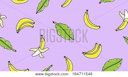 vector seamless pattern with hand drawn bananas and leaves on violet background