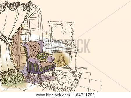 sketch of a classic  interior, curtains, fireplace, chair, floor lamp, carpet, mirror - visit card vector room