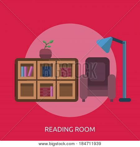 Reading Room Conceptual Design | Great flat illustration concept icon and use for education, science, learning, reading and much more.