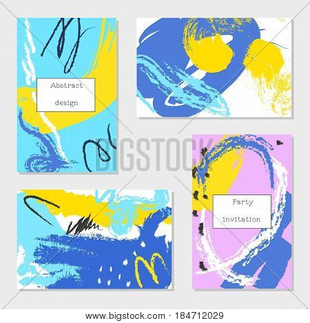 Set of universal cards and invitations abstract modern style. Design for poster card invitation placard brochure flyer.