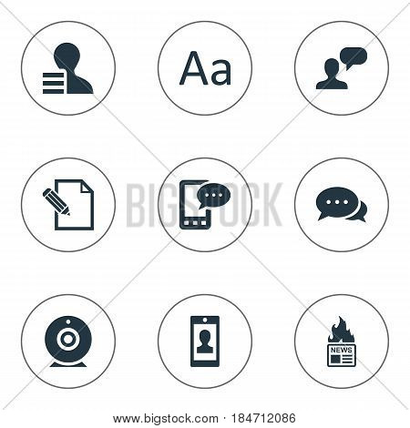 Vector Illustration Set Of Simple Blogging Icons. Elements Man Considering, E-Letter, Gazette And Other Synonyms Phone, Profit And Smartphone.