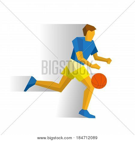 Running basketball player isolated on white background with shadows. Simple character for team logo, sport sign or icon. Athlete dribble the ball - flat style vector clip art.