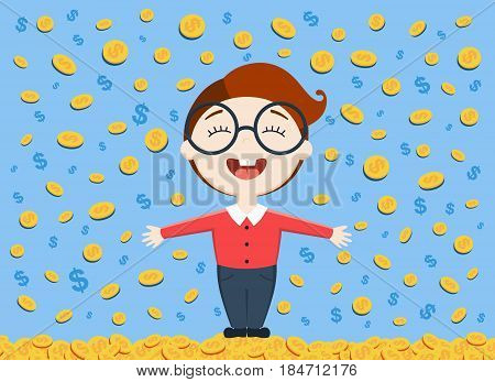 vector illustration of young business man standing under the money rain on blue background