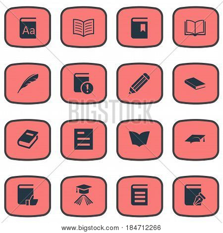 Vector Illustration Set Of Simple Knowledge Icons. Elements Pen, Alphabet, Encyclopedia And Other Synonyms Textbook, Note And Pencil.