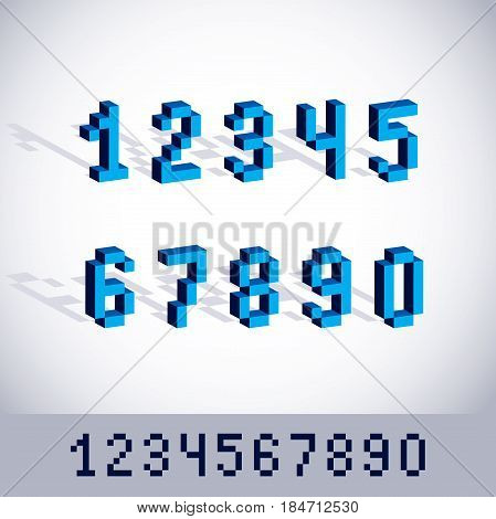 Cybernetic 3d numbers pixel art vector numeration. Pixel design elements contemporary dotted digits made in technology style.