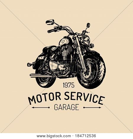 Biker garage logo. Vector hand drawn motorcycle in ink style. Vintage detailed bike illustration for custom company, chopper store, MC sign, label.