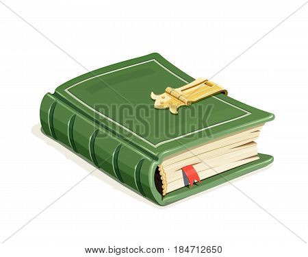 Green vintage book with lock. Education literature. isolated white background. Eps10 vector illustration.