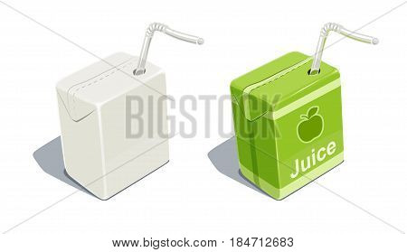 Cardboard pack with tube blank and for apple juice. Beverage Package. Packaging healthy food. Container natural fruit sap. isolated white background. Eps10 vector illustration.