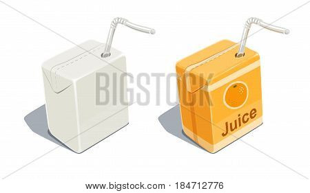 Cardboard pack with tube blank and for orange juice. Beverage Package. Packaging healthy food. Container natural fruit sap. isolated white background. Eps10 vector illustration.