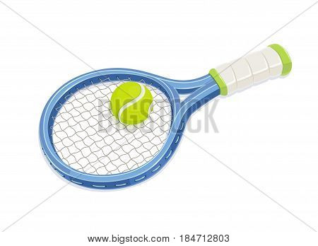 Tennis racket and ball. Sport inventory. isolated white background. Eps10 vector illustration.