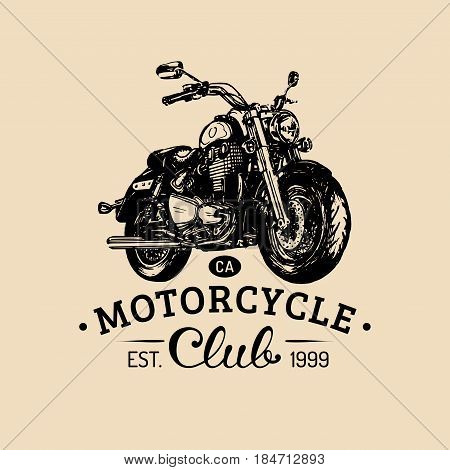 Biker club logo. Vector hand drawn motorcycle for MC sign, label. Vintage detailed bike illustration for custom company, chopper garage poster, card.