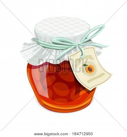 Apricot jam jar. Vintage style. Delicious organic food. Glass capacity for fruit meal with lid. isolated white background. Eps10 vector illustration.