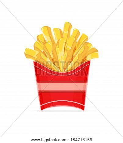 French fries potatoes in paper wrapper. Potato chips. Fast food. Delicious Meal pack. isolated white background. Eps10 vector illustration.