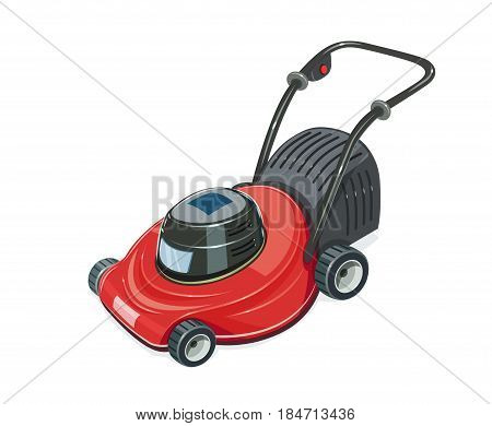 Lawn mower. Grass-cutter. Garden tool. Gardening equipment. Isolated white background. Vector illustration.