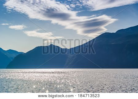 views of the fjord. The county of More og Romsdal. Norway