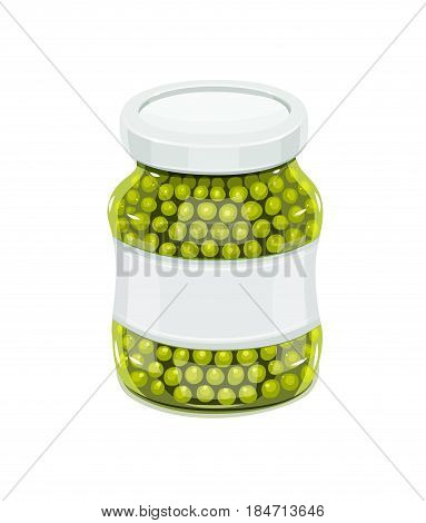 Glass jar with greeen peas. Natural food for safekeeping. isolated white background. Vector illustration.