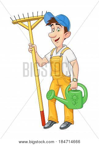 Gardener with rake and watering can. Working occupation. Cartoon character. Agriculture hobby. Housekeeping job. Isolated white background. Vector illustration.