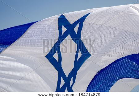 The Israeli Flag In Blue Sky At Israeli Independence Day