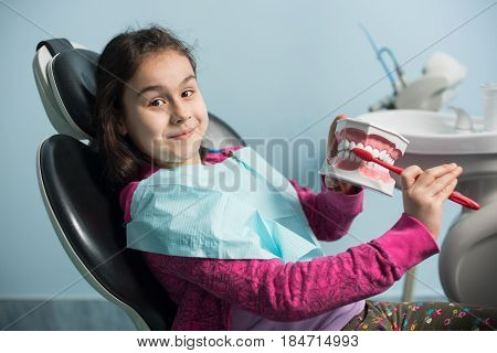 Smiling Girl In Dentist Chair Showing Proper Tooth-brushing Using Dental Jaw Model And Toothbrush In
