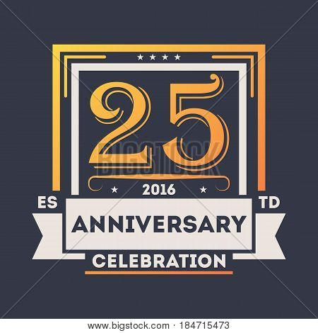 Anniversary celebration logo, 25 years label isolated vector illustration. Birthday party sign, holiday festive celebration emblem with number years jubilee.