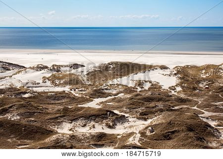 Sand dunes and dune grass of the North Sea island of Amrum Nord Germany.