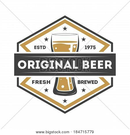 Original beer vintage isolated label vector illustration. Traditional brewing company symbol, premium quality alcohol product, craft beer badge with mug.