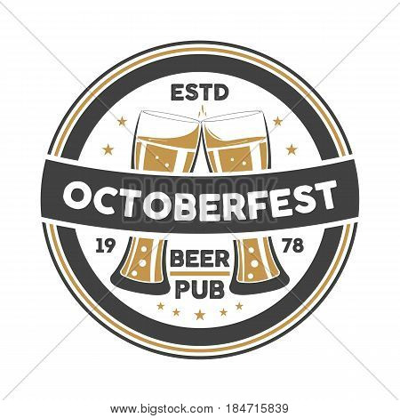Octoberfest event vintage isolated badge vector illustration. Traditional brewing company symbol, premium quality alcohol product, craft beer sign with mug.